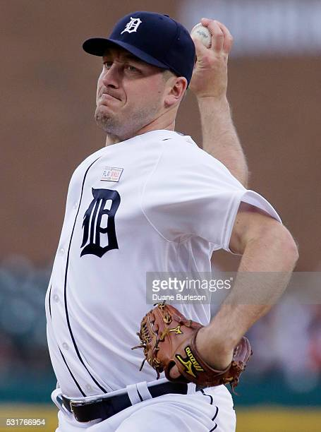Jordan Zimmermann of the Detroit Tigers pitches against the Minnesota Twins during the second inning at Comerica Park on May 16 2016 in Detroit...