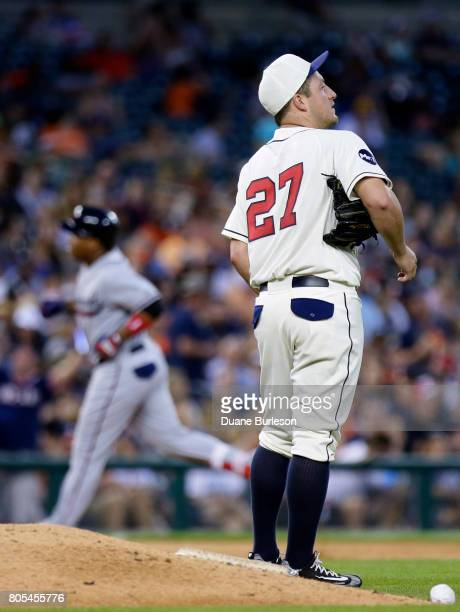Jordan Zimmermann of the Detroit Tigers stands near the mound as Jose Ramirez of the Cleveland Indians rounds the bases after hitting a tworun home...