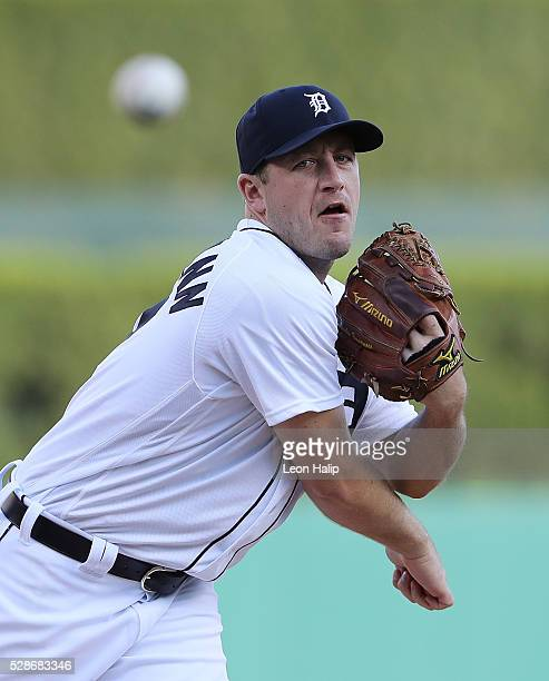 Jordan Zimmermann of the Detroit Tigers warms up prior to the start of the game against the Texas Rangers on May 6 2016 at Comerica Park in Detroit...