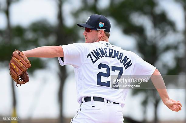 Jordan Zimmermann of the Detroit Tigers works on a pitching drill during the Spring Training workout day at the TigerTown Facility on February 23...