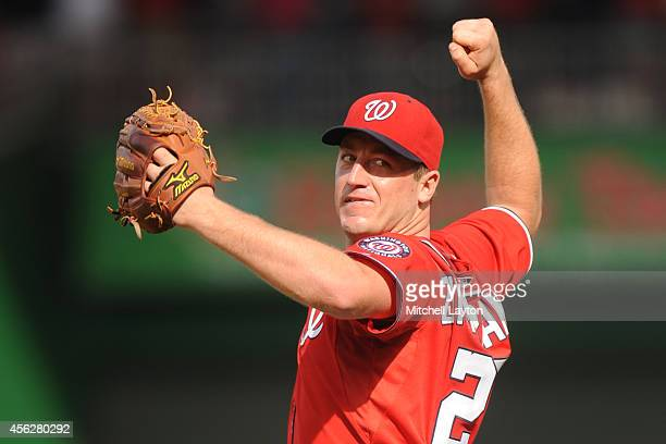 Jordan Zimmermann of the Washington Nationals celebrates pitching a nohitter after a baseball game against the Miami Marlins on September 28 2014 at...