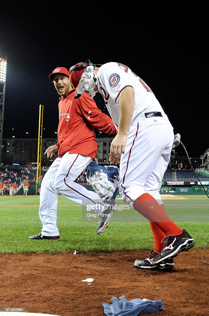 Jordan Zimmermann #27 of the Washington Nationals gets shaving creamed by teammate <a gi-track='captionPersonalityLinkClicked' href=/galleries/search?phrase=Ryan+Mattheus&family=editorial&specificpeople=5437096 ng-click='$event.stopPropagation()'>Ryan Mattheus</a> #52 after pitching a complete game shutout against the Miami Marlins at Nationals Park on September 20, 2013 in Washington, DC. Washington won the game 8-0.