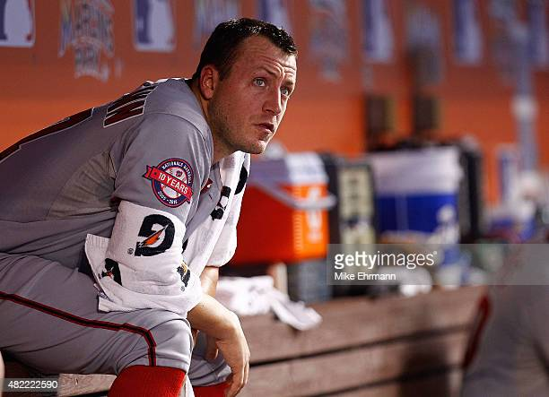 Jordan Zimmermann of the Washington Nationals looks on during a game against the Miami Marlins at Marlins Park on July 28 2015 in Miami Florida