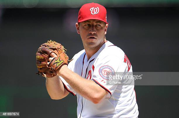 Jordan Zimmermann of the Washington Nationals pitches against the New York Mets at Nationals Park on July 22 2015 in Washington DC