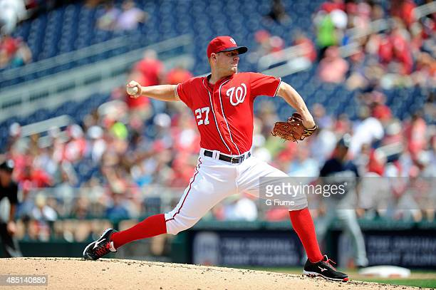 Jordan Zimmermann of the Washington Nationals pitches against the Milwaukee Brewers at Nationals Park on August 23 2015 in Washington DC