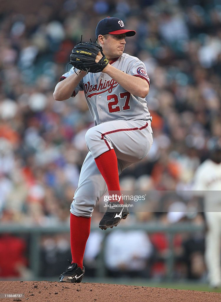 <a gi-track='captionPersonalityLinkClicked' href=/galleries/search?phrase=Jordan+Zimmermann+-+Baseball+Player+-+Born+1986&family=editorial&specificpeople=5726803 ng-click='$event.stopPropagation()'>Jordan Zimmermann</a> #27 of the Washington Nationals pitches against the San Francisco Giants during an MLB game at AT&T Park on June 7, 2011 in San Francisco, California.