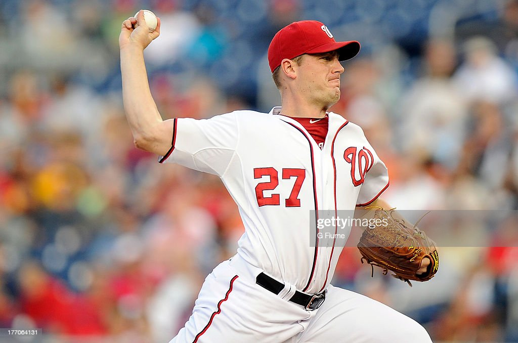 Jordan Zimmermann #27 of the Washington Nationals pitches against the San Francisco Giants at Nationals Park on August 14, 2013 in Washington, DC.