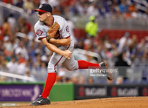 Jordan Zimmermann of the Washington Nationals pitches during a game against the Miami Marlins at Marlins Park on July 28 2015 in Miami Florida