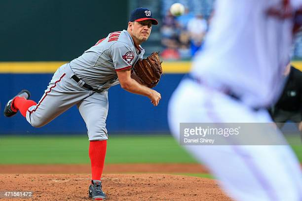 Jordan Zimmermann of the Washington Nationals pitches during the first inning against the Atlanta Braves at Turner Field on April 29 2015 in Atlanta...