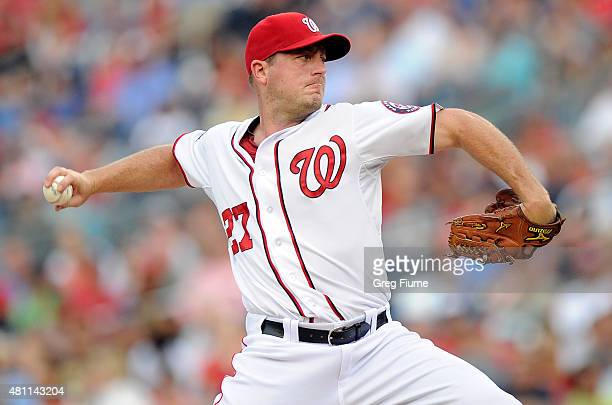 Jordan Zimmermann of the Washington Nationals pitches in the first inning against the Los Angeles Dodgers at Nationals Park on July 17 2015 in...