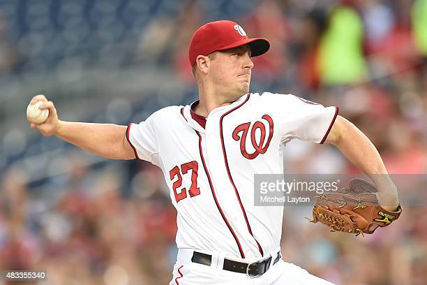 Jordan Zimmermann of the Washington Nationals pitches in the first inning during a baseball game against the Colorado Rockies at Nationals Park on...