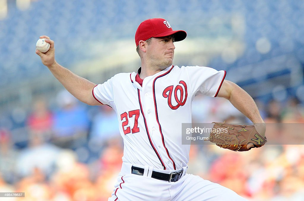 Jordan Zimmermann of the Washington Nationals pitches in the first inning against the Philadelphia Phillies at Nationals Park on June 3 2014 in...