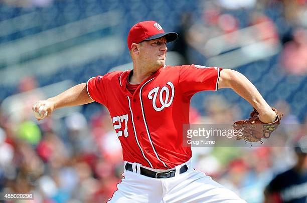 Jordan Zimmermann of the Washington Nationals pitches in the second inning against the Milwaukee Brewers at Nationals Park on August 23 2015 in...