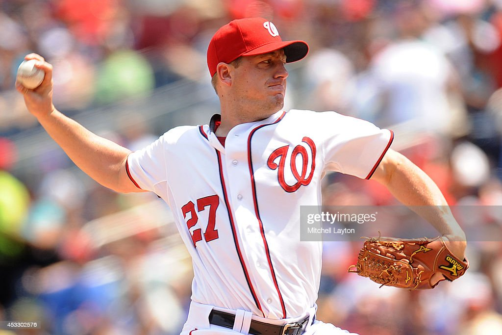 Jordan Zimmermann #27 of the Washington Nationals pitches in the third inning during a baseball game against the New York Mets on August 7, 2014 at Nationals Park in Washington, DC.