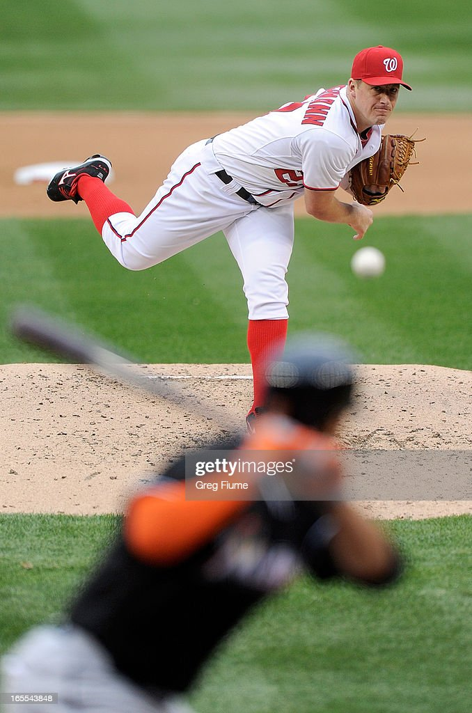 Jordan Zimmermann #27 of the Washington Nationals pitches to <a gi-track='captionPersonalityLinkClicked' href=/galleries/search?phrase=Giancarlo+Stanton&family=editorial&specificpeople=8983978 ng-click='$event.stopPropagation()'>Giancarlo Stanton</a> #27 of the Miami Marlins in the fifth inning at Nationals Park on April 4, 2013 in Washington, DC.