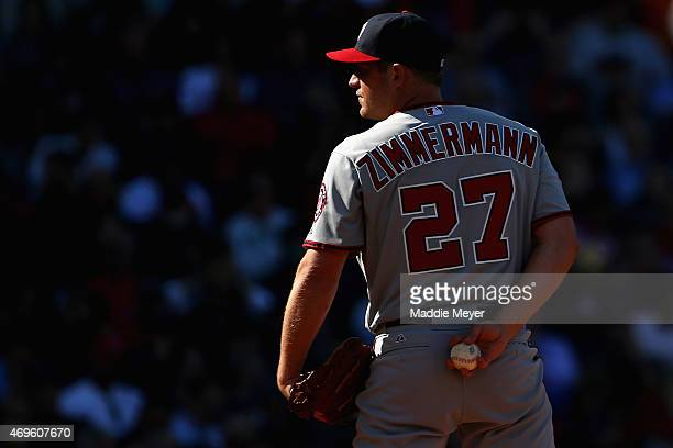 Jordan Zimmermann of the Washington Nationals prepares to pitch against the Boston Red Sox during the third inning at Fenway Park on April 13 2015 in...