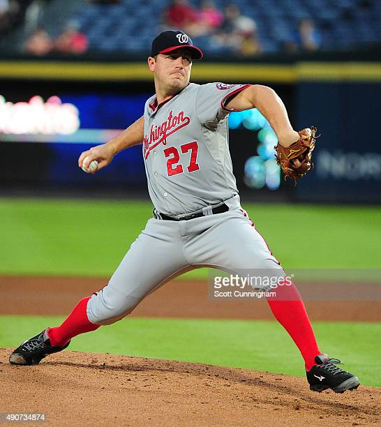 Jordan Zimmermann of the Washington Nationals throws a first inning pitch against the Atlanta Braves at Turner Field on September 30 2015 in Atlanta...