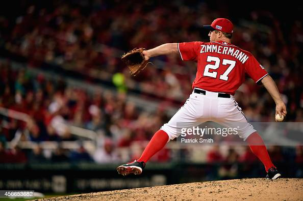 Jordan Zimmermann of the Washington Nationals throws a pitch in the eighth inning against the San Francisco Giants during Game Two of the National...