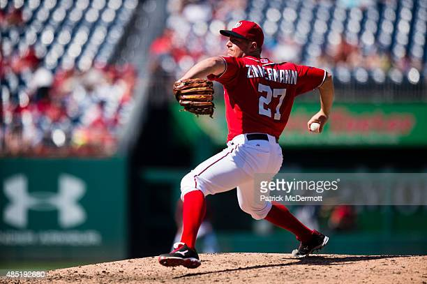 Jordan Zimmermann of the Washington Nationals throws a pitch to a Milwaukee Brewers batter in the sixth inning of a baseball game at Nationals Park...