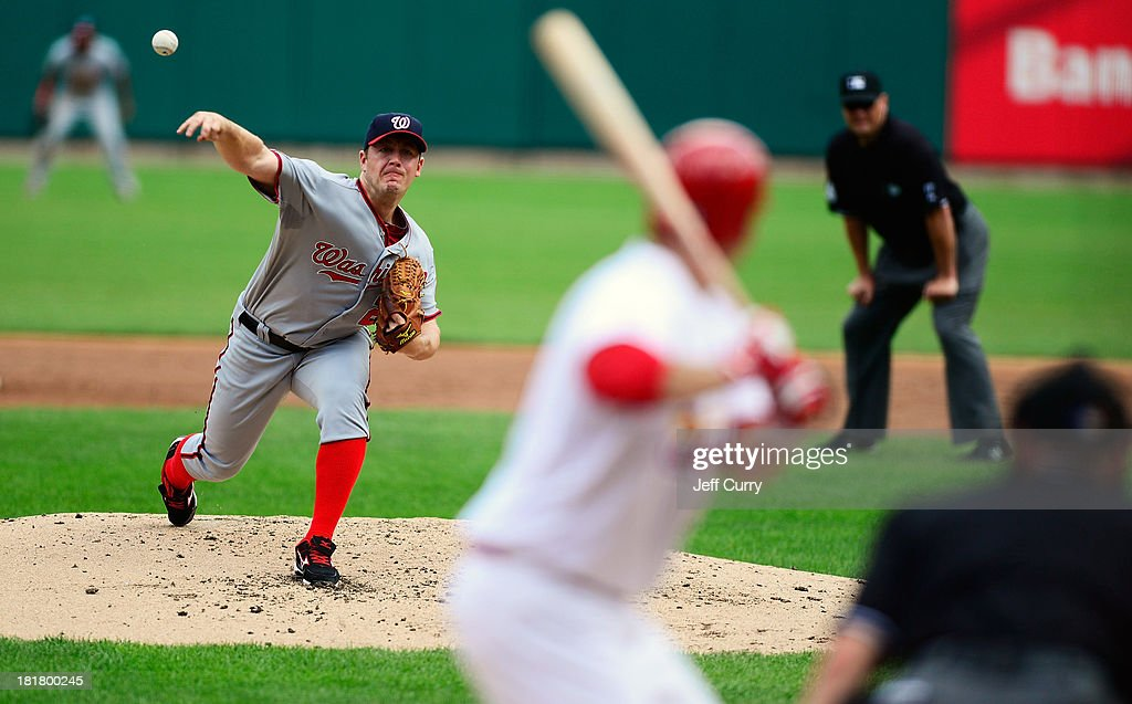 Jordan Zimmermann #27 of the Washington Nationals throws to a David Freese #23 of the St. Louis Cardinals during the second inning at Busch Stadium on September 25, 2013 in St. Louis, Missouri.