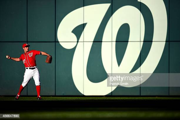 Jordan Zimmermann of the Washington Nationals warms up prior to Game Two of the National League Division Series against the San Francisco Giants at...