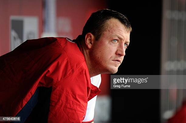 Jordan Zimmermann of the Washington Nationals watches the game from the dugout in the eighth inning against the Toronto Blue Jays at Nationals Park...