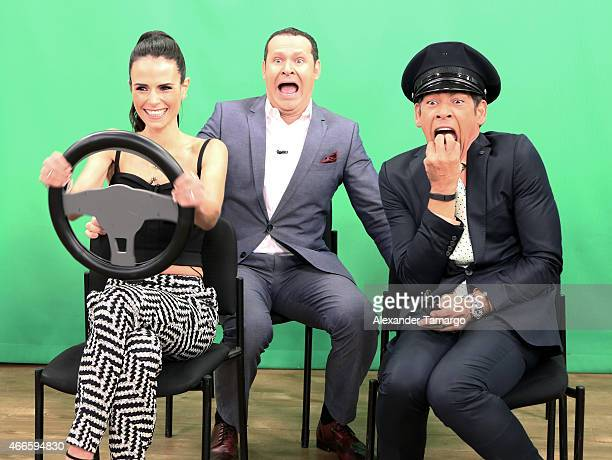Jordana Brewster Alan Tacher and Johnny Lozada are seen on the set of Despierta America to promote the movie 'Furious 7' at Univision Studios on...