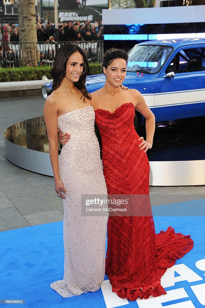 Jordana Brewster and Michelle Rodriguez attends the World Premiere of 'Fast & Furious 6' at Empire Leicester Square on May 7, 2013 in London, England.
