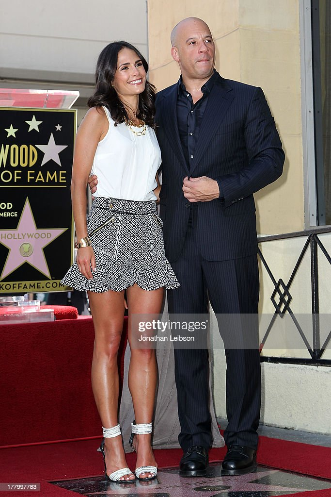 Jordana Brewster and Vin Diesel attend the ceremony honoring Vin Diesel with a star on The Hollywood Walk of Fame held on August 26, 2013 in Hollywood, California.