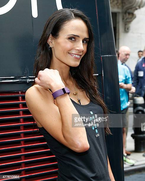 Jordana Brewster attends the Fitbit IPO celebration with Harley Pasternak and Jordana Brewster at New York Stock Exchange on June 18 2015 in New York...