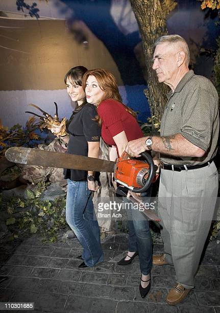 Jordana Brewster Diora Baird and R Lee Ermey during CHAMBER LIVE Featuring House of Horrors at Madame Tussauds at Madame Tussauds New York in New...