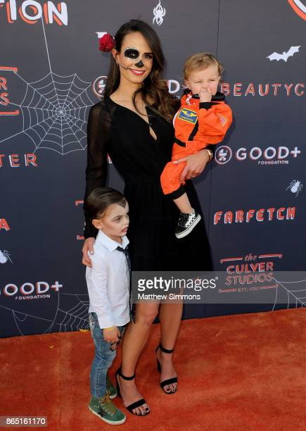 Jordana Brewster with her sons Julian and Rowan at the GOOD Foundation's 2nd Annual Halloween Bash at Culver Studios on October 22 2017 in Culver...