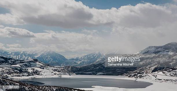 Jordanelle Reservoir in winter, Park City, Utah, USA