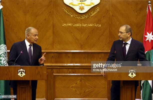 Jordanian Foreign Minister Ayman alSafadi attends a joing press conference with Arab League Secretary General Ahmed AbulGheit following their meeting...