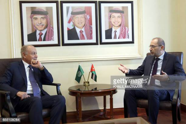 Jordanian Foreign Minister Ayman alSafadi meets with Arab League Secretary General Ahmed AbulGheit in the capital Amman on March 19 2017 / AFP PHOTO...