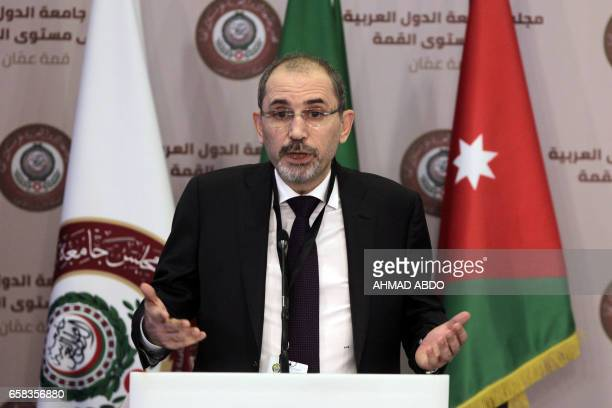 Jordanian Foreign Minister Ayman alSafadi speaks during a press conference after the preparatory meeting of Arab Foreign ministers of the 28th...