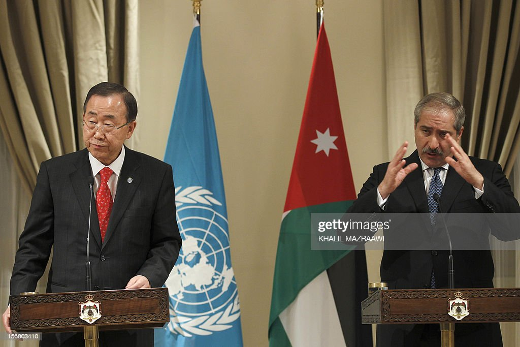 Jordanian Foreign Minister Nasser Judeh (R) and United Nation Secretary General Ban Ki-moon, speak to reporters in Amman, on November 21, 2102. Ban Ki-moon arrived in Amman from Cairo, to discussed the latest developments in the Gaza Strip and the truce efforts and sustaining efforts to revive peace negotiations, also they discussed efforts to deliver emergency aid to Gaza. AFP PHOTO/KHALIL MAZRAAWI