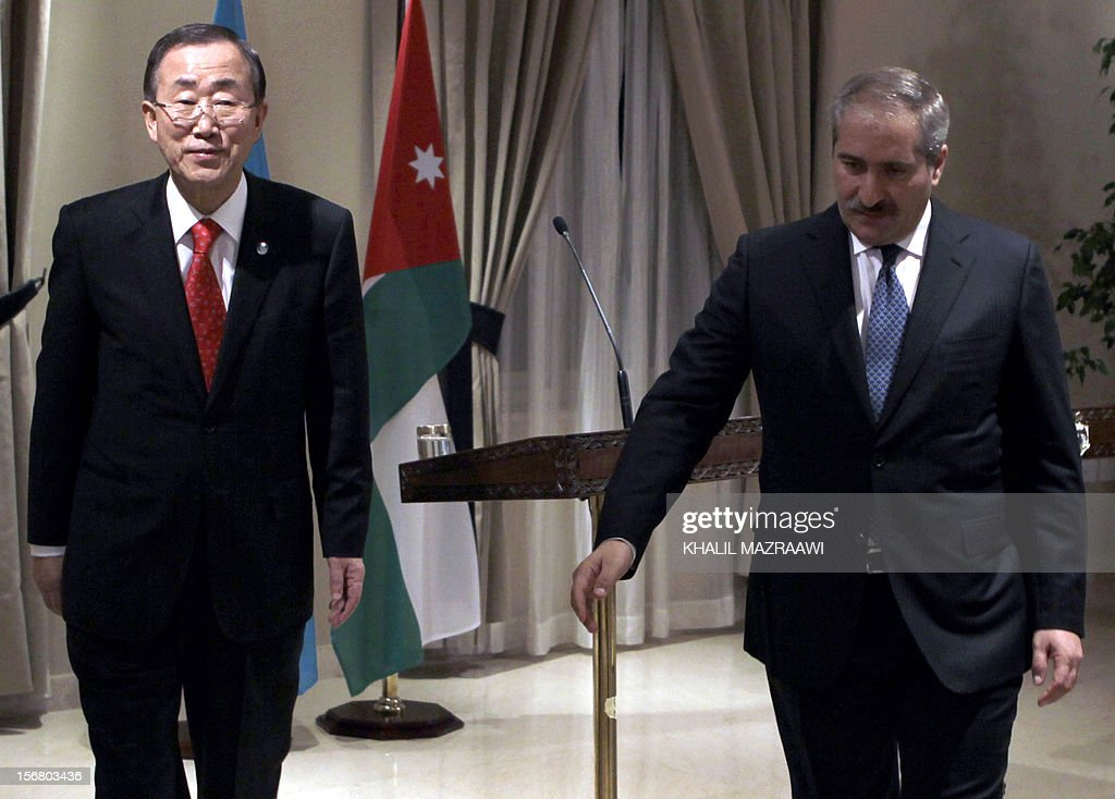 Jordanian Foreign Minister Nasser Judeh (R) and United Nation Secretary General Ban Ki-moon leave after speaking to reporters, in Amman on November 21, 2102. Ban Ki-moon arrived in Amman from Cairo, to discussed the latest developments in the Gaza Strip and the truce efforts and sustaining efforts to revive peace negotiations, also they discussed efforts to deliver emergency aid to Gaza.