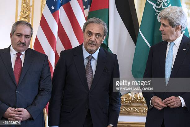Jordanian Foreign Minister Nasser Judeh and US Secretary of State John Kerry listen as Saudi Arabia's Foreign Minister Prince Saud alFaisal speaks to...