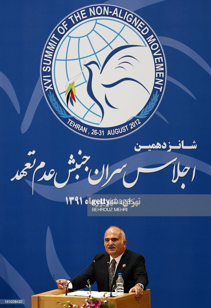 Jordanian Foreign Minister Nasser Judeh delivers his speech during the last day of Non-Aligned Movement (NAM) summit in Tehran on August 31, 2012.