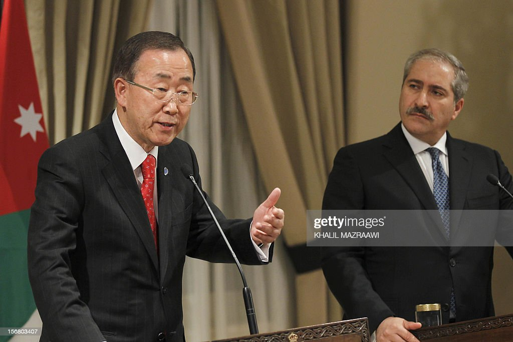 Jordanian Foreign Minister Nasser Judeh (R) listens on as United Nation Secretary General Ban Ki-moon speaks to reporters, in Amman on November 21, 2102. Ban Ki-moon arrived in Amman from Cairo, to discussed the latest developments in the Gaza Strip and the truce efforts and sustaining efforts to revive peace negotiations, also they discussed efforts to deliver emergency aid to Gaza.