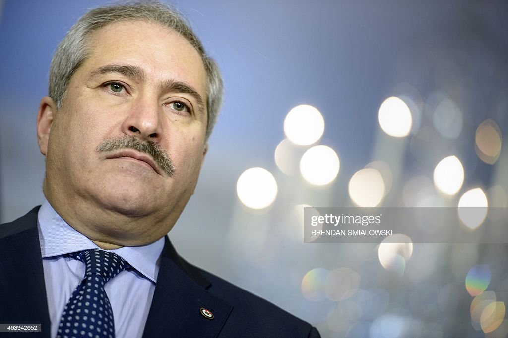 Jordanian Foreign Minister <a gi-track='captionPersonalityLinkClicked' href=/galleries/search?phrase=Nasser+Judeh&family=editorial&specificpeople=3465453 ng-click='$event.stopPropagation()'>Nasser Judeh</a> listens while US Secretary of State John Kerry speaks to the press before a meeting at the US State Department February 20, 2015 in Washington, DC. AFP PHOTO/BRENDAN SMIALOWSKI