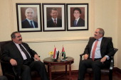 Jordanian Foreign Minister Nasser Judeh meets with Iraqi Foreign Minister Hoshyar Zebari in Amman Jordan on May 3 2014