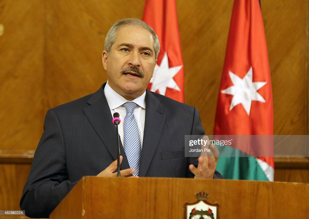 Jordanian foreign minister <a gi-track='captionPersonalityLinkClicked' href=/galleries/search?phrase=Nasser+Judeh&family=editorial&specificpeople=3465453 ng-click='$event.stopPropagation()'>Nasser Judeh</a> speaks during a press conference with Foreign Minister of France Laurent Fabius upon his arrival for talks in Amman, Jordan, July 19, 2014.