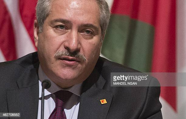 Jordanian Foreign Minister Nasser Judeh speaks during a signing ceremony for a memorandum of understanding for US assistance to Jordan on February 3...