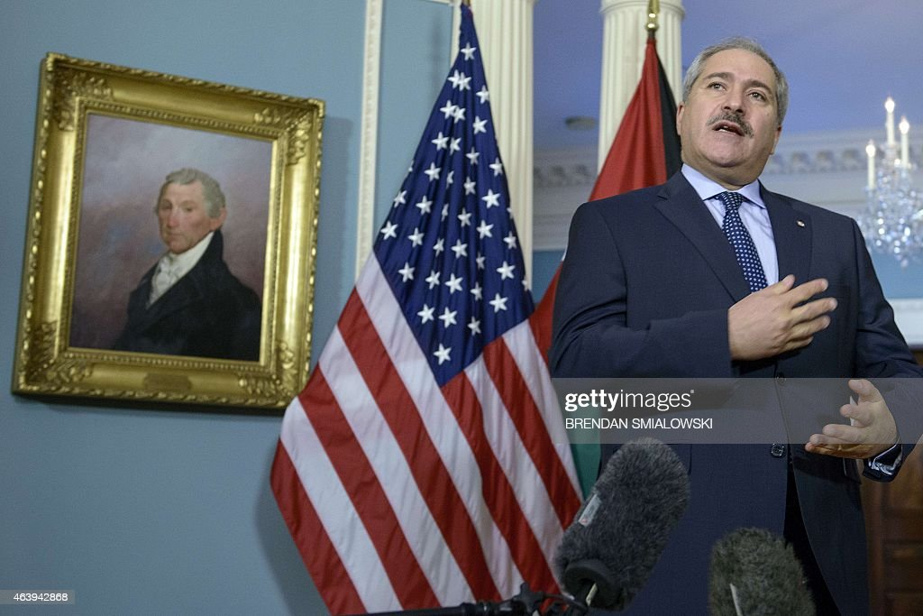 Jordanian Foreign Minister Nasser Judeh speaks to the press before a meeting with US Secretary of State John Kerry at the US State Department...