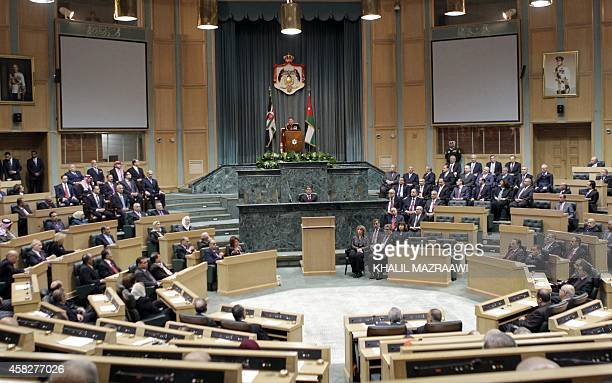 Jordanian King Abdullah II delivers a speech at the parliament on the occasion of the second regular session in Amman on November 2 2014 AFP...