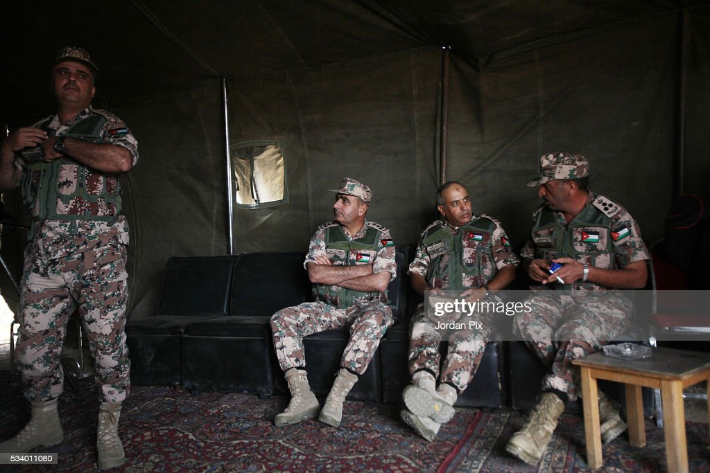 Jordanian officers sit in a military tent as Jordan Armed Forces, U.S. Army and U.S. Marine Corps forces conduct a combined Arms Live Fire Exercise that practices the synchronization of tactical maneuver, fire support assets and air power, during the Eager Lion 2016 exercise that takes place near Zarqa, Jordan, on May 24, 2016. Eager Lion is a joint exercise between U.S. and Jordanian forces and is one of the U.S. Central Command's premiere exercises, in the Hashemite Kingdom of Jordan during the month of May, consisting a week-long series of simulated scenarios to facilitate a coordinated partnered military response to conventional and unconventional threats.