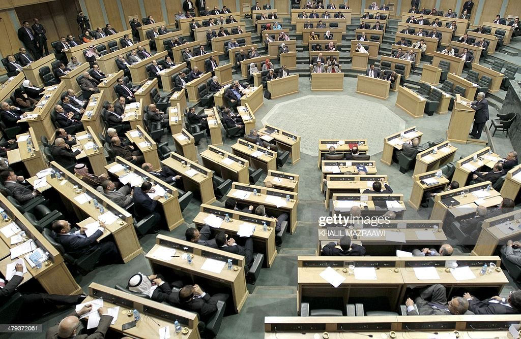 Jordanian Parliament Members take part in a vote of confidence for the Prime Minister on March 18 2014 in the capital Amman The 150member lower house...
