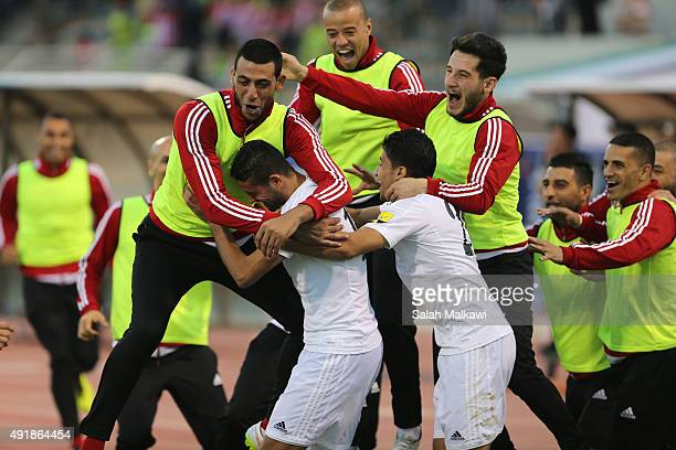 Jordanian players celebrate a goal of Hasan abdel Fattah during the 2018 FIFA World Cup qualification match between Jordan and Australia Socceroos at...
